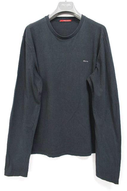 プラダスポーツ [ PRADA ] ロゴ ロンT ネイビー 紺色 SIZE[L] メンズ トップス Tシャツ カットソー ロングTシャツ 長袖