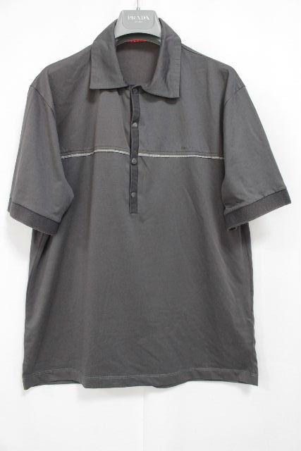 プラダスポーツ [ PRADA ] ストレッチ ポロシャツ グレー系 半袖 SIZE[L] メンズ プラダトップス カットソー Tシャツ