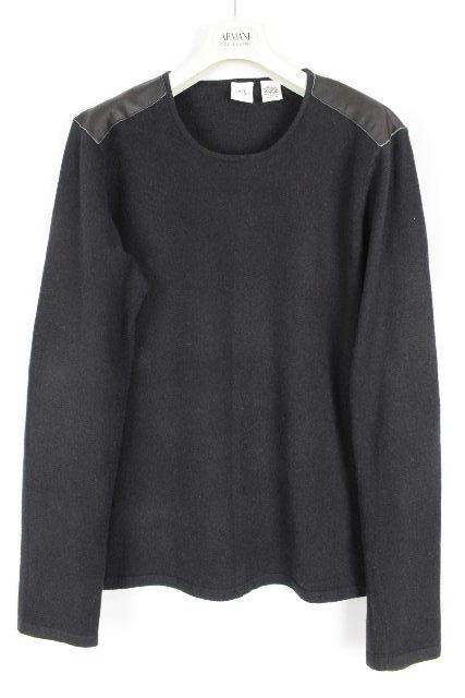 A/X アルマーニ [ ARMANI ] レザー ニット セーター ブラック 黒 長袖 SIZE[L] メンズ トップス カットソー