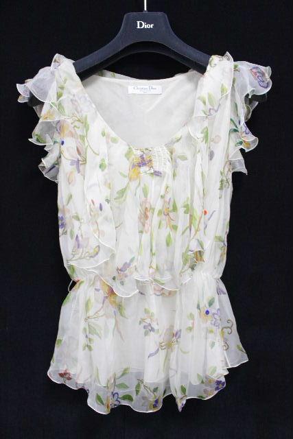 クリスチャンディオール [ Dior ] フリル リボン ブラウス ベージュ系 レディース ディオール シャツ フラワー 花柄