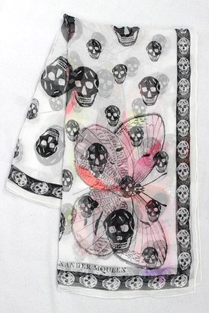 アレキサンダーマックイーン [ Alexander McQueen ] スカル ショール ホワイト 白 スカーフ ストール マックイーン