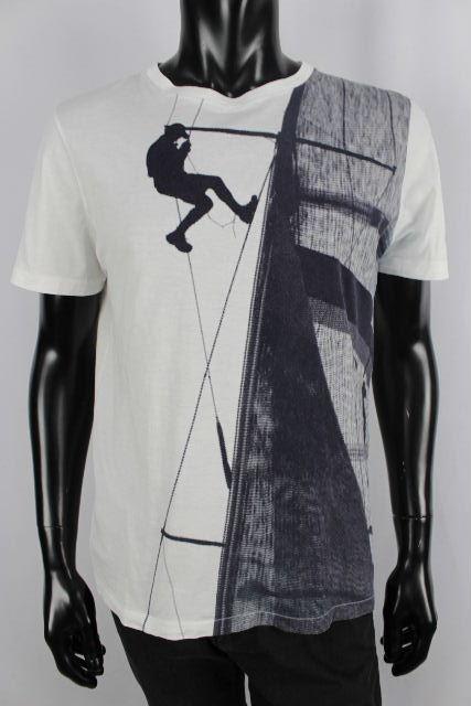ルイヴィトン [ LOUISVUITTON ] LVロゴ×プリント Tシャツ 白 半袖 SIZE[M] メンズ トップス カットソー ヴィトン ビトン