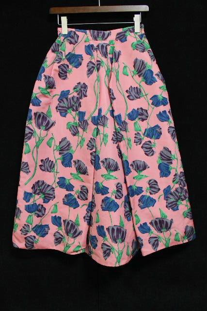プラダ [ PRADA ] ナイロン フラワー フレアースカート ピンク SIZE[38] レディース ボトムス ロングスカート 花柄