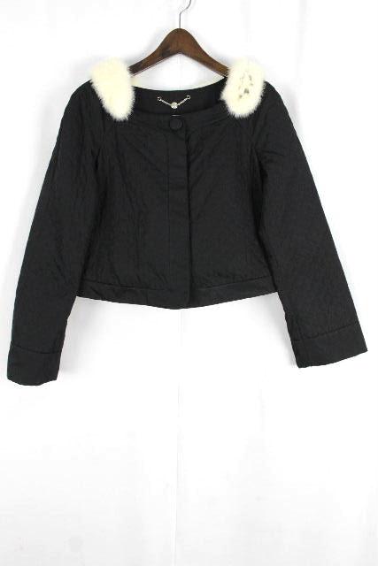 フェラガモ [ Ferragamo ] ビジュー ミンクファー ジャケット ブラック 黒 SIZE[40] レディース アウター コート