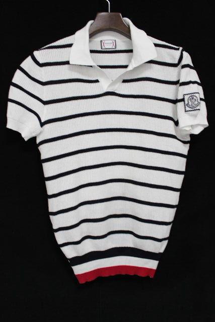 モンクレール ガムブルー [ MONCLER ] マリン ボーダー トリコロール ポロシャツ 半袖 SIZE[XS] メンズ トップス トムブラウン