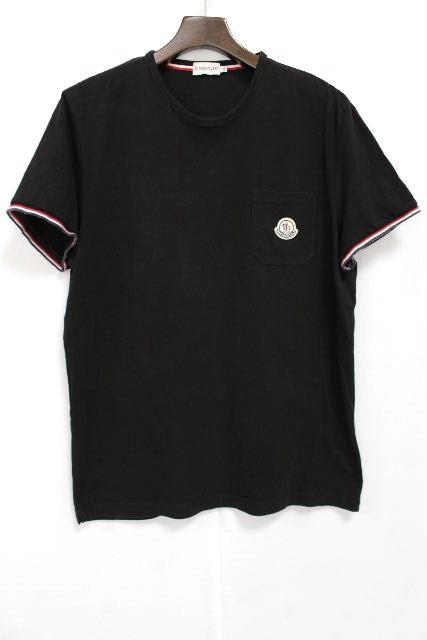 モンクレール [ MONCLER ] トリコロール ワッペン カットソー 黒 半袖 SIZE[XL] メンズ トップス Tシャツ