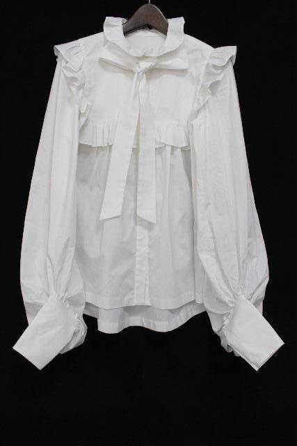 ミュゲ [ MUGUET ] Anne ブラウス ホワイト 白 SIZE[F] レディース トップス フリル リボン ボリュームスリーブシャツ 定価33800円
