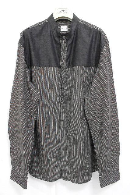 アルマーニ [ ARMANI ] ノーカラー シャツ ブラック 黒系 長袖 SIZE[XL] メンズ トップス