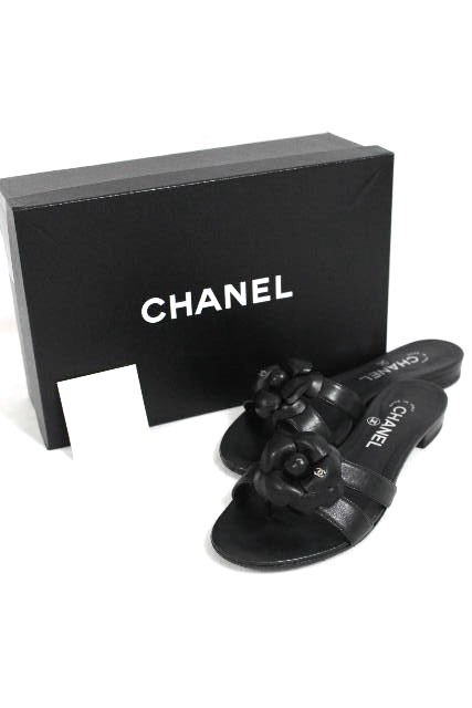 シャネル [ CHANEL ] CC カメリア レザー サンダル ブラック 黒 SIZE[37C] レディース トング フラットシューズ