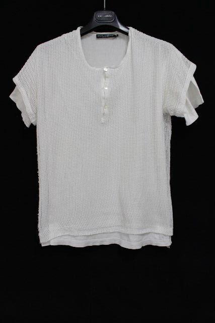 ドルチェ&ガッバーナ [ DOLCE&GABBANA ] ヘンリーネック メッシュ カットソー 半袖 白 SIZE[46] メンズ ドルガバ Tシャツ 重ね着