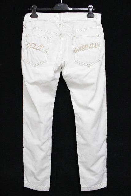 ドルチェ&ガッバーナ [ DOLCE&GABBANA ] ロゴ刺繡 ホワイト コットン パンツ SIZE[46] メンズ ドルガバ チノパンツ