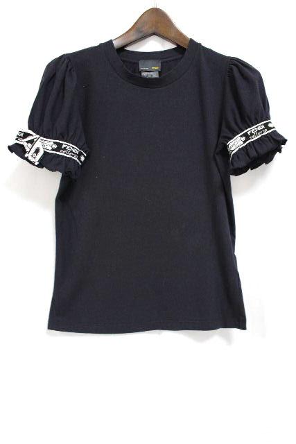 フェンディ [ FENDI ] セレリア リボン カットソー ブラック 黒 半袖 SIZE[40] レディース トップス Tシャツ