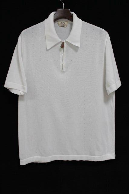 エルメス [ HERMES ] 鹿の子 ポロシャツ ホワイト 白 半袖 SIZE[XL] メンズ トップス カットソー