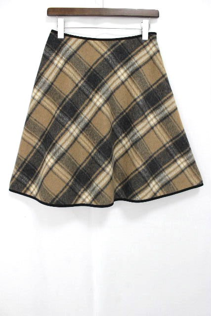 エムズグレイシー [ MS GRACY ] チェック柄 フレアースカート ベージュ SIZE[38] レディース スカート