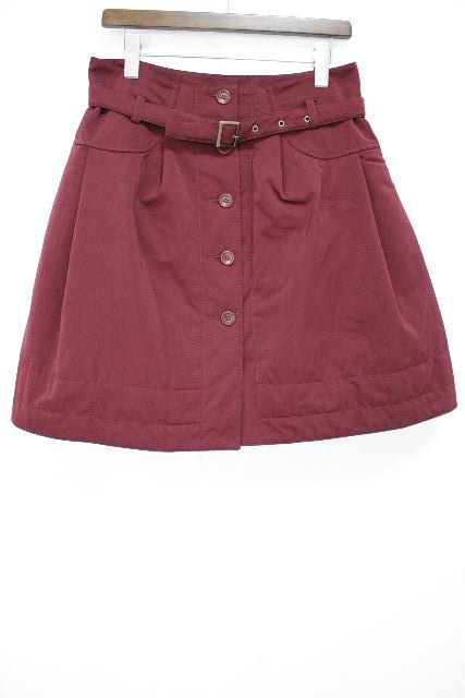 エムズグレイシー [ MS GRACY ] 中綿 ベルト フレアースカート エンジ SIZE[40] レディース スカート