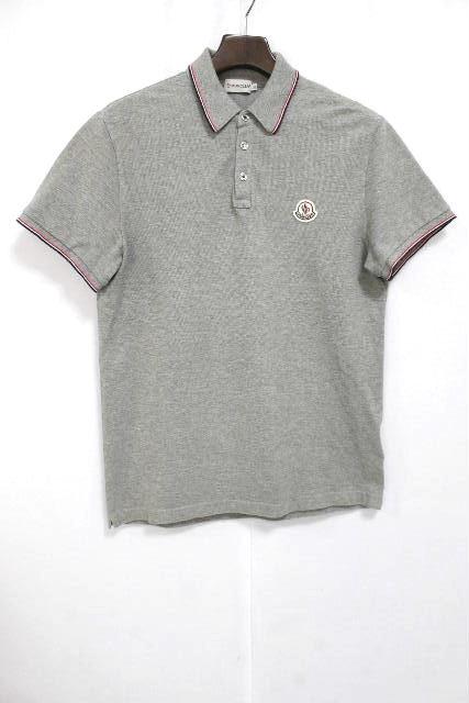 モンクレール [ MONCLER ] トリコロール ワッペン ポロシャツ グレー 半袖 SIZE[M] メンズ トップス カットソー