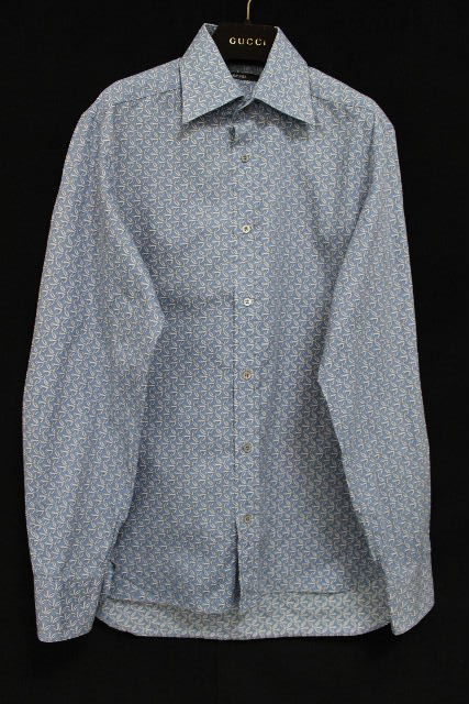 グッチ [ GUCCI ] Gロゴ モノグラム カジュアルシャツ 長袖 SIZE[40・15 3/4 ] メンズ トップス ブルー 水色