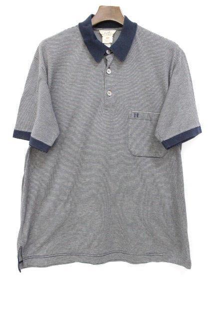 エルメス [ HERMES ] Hロゴ刺繡 ボーダー ニット ポロシャツ 半袖 SIZE[XL] メンズ トップス カットソー 紺×グレー