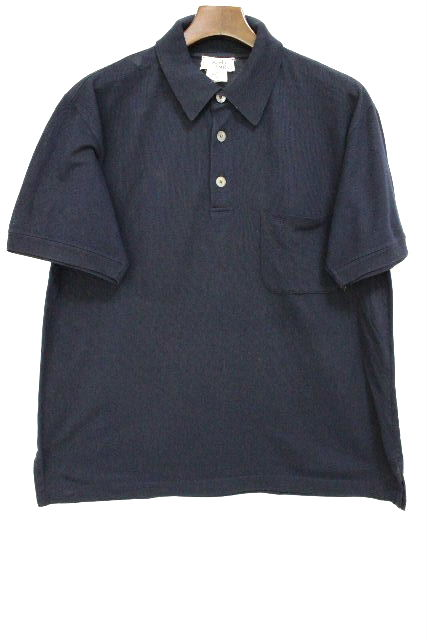 エルメス [ HERMES ] Hロゴ刺繡 鹿の子 ポロシャツ ネイビー 紺色 半袖 SIZE[XL] メンズ トップス カットソー Tシャツ