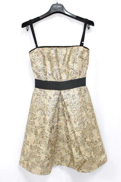 D&G [ ドルチェ&ガッバーナ ] ゴブラン織り フレアーワンピース ラメゴールド SIZE[38] レディース ドルガバ ドレス ワンピ