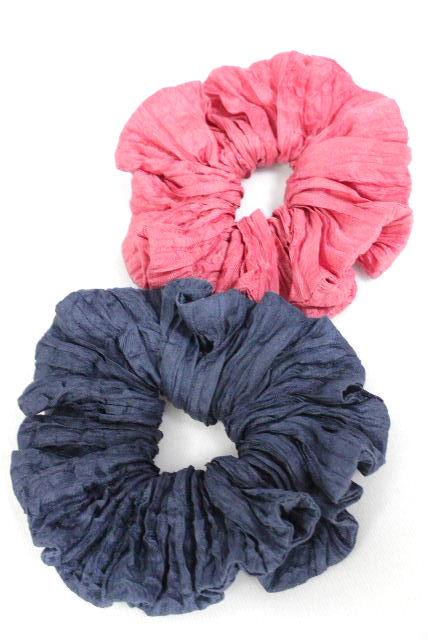 アッカ [ acca ] フリルシュシュ ピンク ネイビー 紺色 [2個セット] ヘアアクセサリー ヘアアクセ ヘアゴム