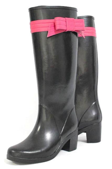 ケイトスペード [ katespade ] バイカラー リボン レインブーツ ブラック 黒 SIZE[5] レディース ブーツ 長靴