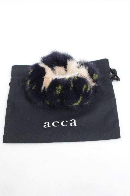 アッカ [ acca ] ミンクファー シュシュ 黒×ピンク×カーキ系 ヘアアクセサリー ヘアアクセ ヘアゴム
