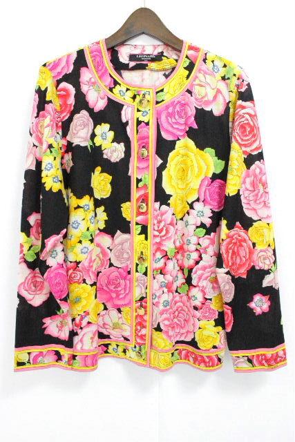 レオナール [ LEOMARD ] フラワー ノーカラー ジャケット ブラック 黒 SIZE[M] レディース カーディガン カーデ 花柄 薔薇柄