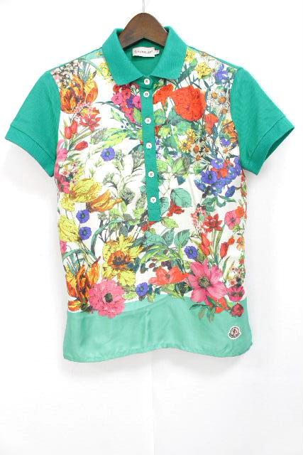 モンクレール [ MONCLER ] フラワー スカーフ ポロシャツ グリーン 半袖 SIZE[S] レディース トップス カットソー 花柄
