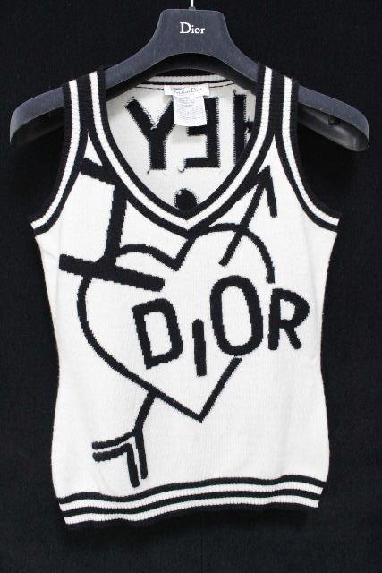 ディオール [ Dior ] カシミヤ ハート ロゴ ニット セーター 白黒 レディース ベスト ジレ クリスチャンディオール