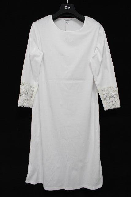 クリスチャンディオール [ Christian Dior ] ロゴ レース コットン ワンピース ホワイト 白 SIZE[M] レディース ディオール ワンピ