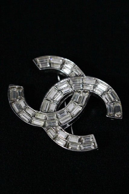シャネル [ CHANEL ] 01P ココマーク ビジュー ブローチ シルバー レディース ピンバッジ