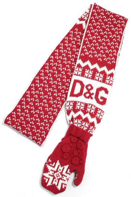 D&G [ ディー&ジー ] 手袋付き ボーダー ロングマフラー レッド 赤 レディース ニット グローブ
