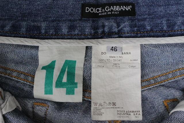 ドルチェ&ガッバーナ [ DOLCE&GABBANA ] 14 グリーン クラッシュ加工 デニムパンツ SIZE[46] メンズ ドルガバ ボトムス ジーンズ Gパン