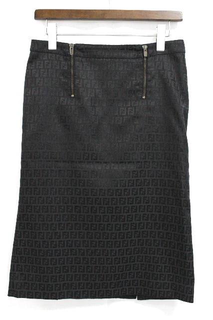 フェンディ [ FENDI ] ズッカ柄 ナイロン タイトスカート ブラック 黒 SIZE[38] レディース ボトムス ひざ丈