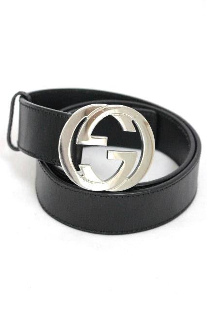 グッチ [ GUCCI ] GGバックル レザーベルト ブラック 黒 SIZE[90・36] メンズ 紳士用 男性用