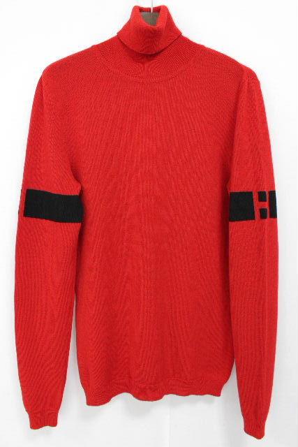 エルメス [ HERMES ] Hロゴ ハイネック ニットセーター レッド 赤 長袖 SIZE[M] メンズ トップス タートルネック