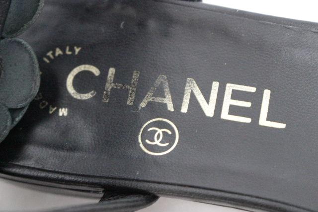 シャネル [ CHANEL ] カメリア レザー ストラップ フラットサンダル 黒 SIZE[38c] レディース フラットシューズ