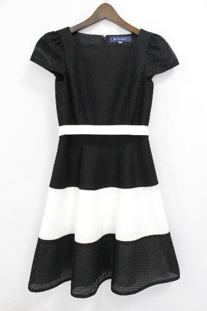 エムズグレイシー [ MS GRACY ] バイカラー リボン フレアーワンピース 黒白 SIZE[36] レディース ワンピ