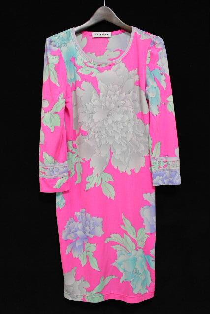 レオナール [ LEOMARD ] リボン フラワー ワンピース ピンク SIZE[38] レディース ストレッチ ワンピ 花柄