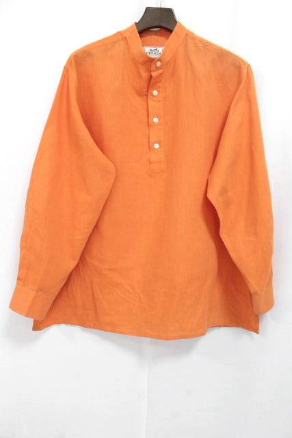 エルメス [ HERMES ] H刺繡 リネン シャツ オレンジ 長袖 SIZE[43/17] メンズ カジュアルシャツ 麻