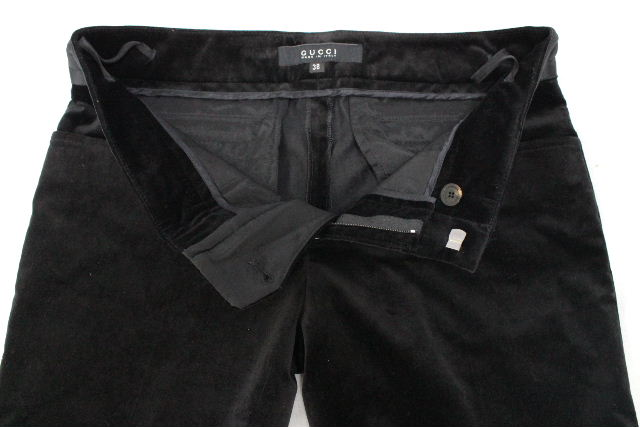 グッチ [ GUCCI ] ベロア フレアー パンツ ブラック 黒 SIZE[38] レディース ボトムス ブーツカット