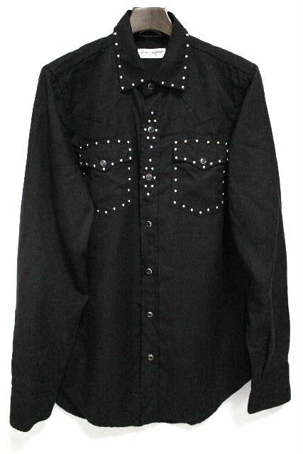 サンローラン [ SAINT LAURENT ] 15ss スタッズ ウエスタンシャツ ブラック 黒 長袖 SIZE[M] メンズ トップス カジュアルシャツ シャツ