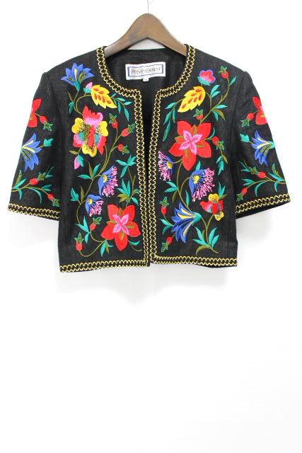 イヴ サンローラン [ SAINT LAURENT ] リネン フラワー刺繡 ジャケット ブラック 黒 SIZE[M] レディース ヴィンテージ ビンテージ カーディガン 麻 花柄