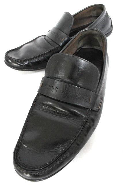 ルイヴィトン [ LOUISVUITTON ] パンチングロゴ レザー ローファー ブラック 黒 SIZE[9] メンズ 紳士用 スリップオンシューズ ヴィトン ビトン