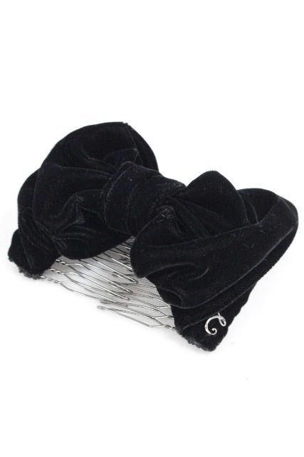 コンプレックスビズ [ complex biz ] ベロアリボン コーム ブラック 黒 ヘアアクセ ヘアアクセサリー クリップ イージーコーム