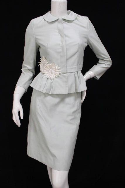 クリスチャンディオール [ Christian Dior ] フラワー プリーツ セットアップ スーツ グリーン レディース ディオール スーツ ジャケット スカート