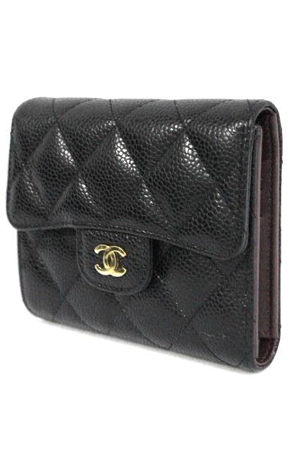 シャネル [ CHANEL ] キャビアスキン 二つ折り財布 ブラック 黒 コンパクト財布 財布 ちい財布