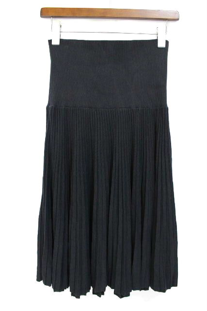 エルメス [ HERMES ] ハイウエスト プリーツスカート ブラック 黒 SIZE[38] レディース フレアースカート スカート