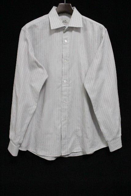 エルメス [ HERMES ] チェック柄 カッターシャツ 白 長袖 SIZE[42 16・1/2] メンズ トップス ワイシャツ シャツ